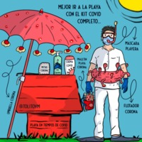 Snoopynurse con algo dehumor primer verano con pandemia en Mallorca Isla con mucho turismo